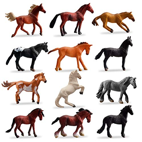 TOYMANY 12PCS Mini Realistic Horse Figurines Toy Set, Plastic Miniature Pony Small Foal Figures, Christmas Birthday Gift Cupcake Cake Topper Party Favor Educational Toy School Prize for Kids Toddlers
