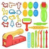 FOROREH Outils de Pâte à Modeler, 30 Pcs de d' Accessoires de Jouet Colorés, Moules de Pâte Argile pour Enfants en Plastique, Couleur Aléatoire, Idéal Cadeaux pour Enfant Plus de 7ans