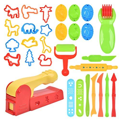 FOROREH 30er Knetwerkzeug Teig Plastilin Werkzeuge, Kinder Knete Zubehör Spielzeug, Plastilin Ausstechformen Küchenspielzeug Modellierwerkzeug Knetwerkzeugset für Kinder Geschenk