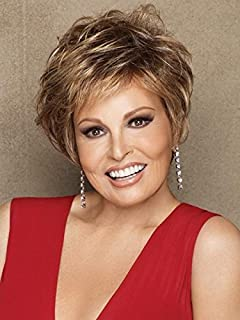 Cinch Wig  Color SS14/88 SHADED GOLDEN WHEAT - Raquel Welch Wigs Synthetic Women's Capless Short Sassy Asymmetrical Cropped Cut Memory Cap II Bundle with Travel Kit, MaxWigs Hairloss Booklet