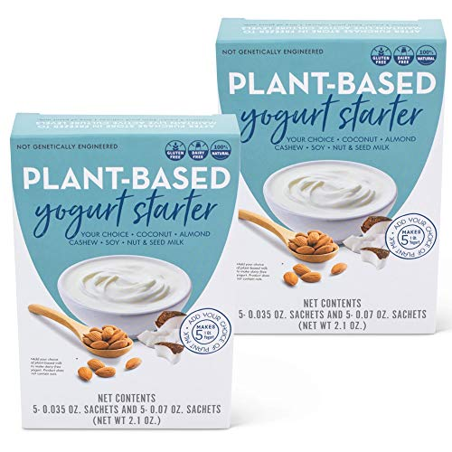 Plant Based Dairy Free Vegan Yogurt Culture - 10 Quart Pack - Recipe Booklet Included