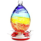 Hummingbird Feeder for Outdoors, Hand Blown Glass Humming Bird Feeder,Premium Bird feeders of Leakproof and Non-Toxic 30 Ounces Nectar Capacity ,Include Hook&Ant Moat. (Rainbow)