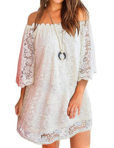OURS Women Off-the-shoulder Lace Tunic Casual Party Shift Short Dress White L