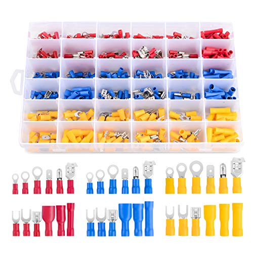 Nilight 540PCS Mixed Quick Disconnect Electrical Insulated Butt Bullet Spade Fork Ring Solderless Crimp Terminals 22-16/16-14/12-10 Gauge Electrical Wire Connectors Assortment Kit, 2 Years Warranty