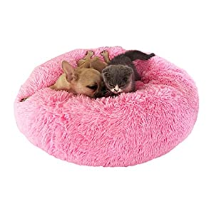Genlesh Panier Rond pour Chien et Chat en Peluche Douce et Confortable pour Dormir en Hiver