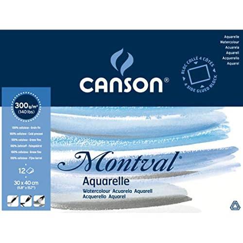 CANSON Bloc de papier aquarelle Montval, 300 x 400 mm
