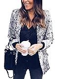 Tomwell Mujeres Blazer Elegante Estampado de Leopardo Oficina Negocios Parte Traje de Chaqueta Slim Fit Outwear Tops Estampado Serpiente ES 36
