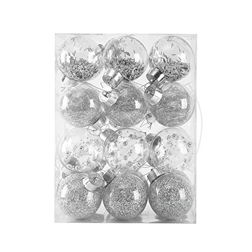 70mm/2.76' Christmas Ball Ornaments,Shatterproof Clear Plastic Decorative Xmas Balls Baubles Set with Exquisite Decorations(Silver,24 Counts)