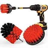 Holikme 4Pack Drill Brush Power Scrubber Cleaning Brush Extended Long Attachment Set All Purpose Drill Scrub Brushes Kit for Grout, Floor, Tub, Shower, Tile, Bathroom and Kitchen Surface Red