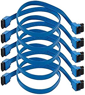Monoprice 5-Pack Blue 18-Inch SATA III 6.0 Gbps Cable with Locking Latch and 90-Degree Plug