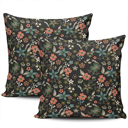 CDMT-XU1 Home Decoration Throw Pillow Cases Covers Fashion Ditsy Floral Boudoir Pillowcases Square Two Sides Print 18x18 Inches Set of 2