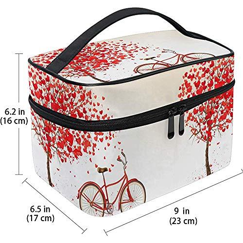 Voyage Sac cosmétique vélo Romantique Arbre d'amour Coeurs Volants Voyage cosmétique Brosse Sac Organisateur de Stockage