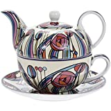 Charles Rennie Mackintosh Inspired Design Tea for One Fine China Cup Saucer & Teapot Set