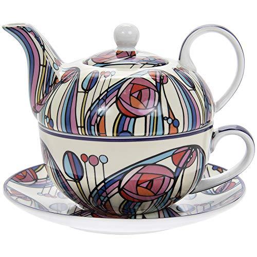 Charles Rennie Mackintosh Design Tea for One Fine China - Set con piattino e teiera