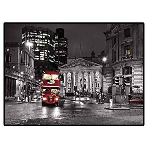 Christmas Bathroom Rugs Patio Rugs Royal Exchange London with Red Route Master Bus for Living Room Bedroom Bathroom Kitchen Laundry Dorm 4 X 5 Ft