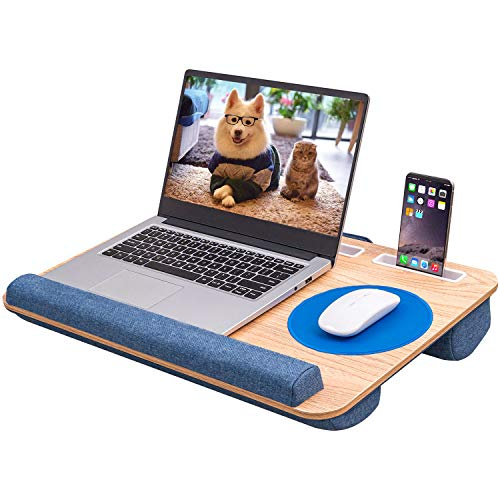 Home Office Lap Desk with Cushion-Portable Laptop Desk Tray Fits up to 17 inch Laptops, Built-in Mouse Pad and Wrist Rest for MacBook and Notebook, Laptop Pad with Slots for Phone and Tablet