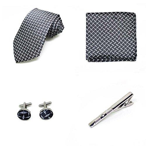 S.R HOME Coffret Cadeau Ensemble Cravate homme, Mouchoir de poche, épingle et boutons de manchette Rayures Bleues et Argentées