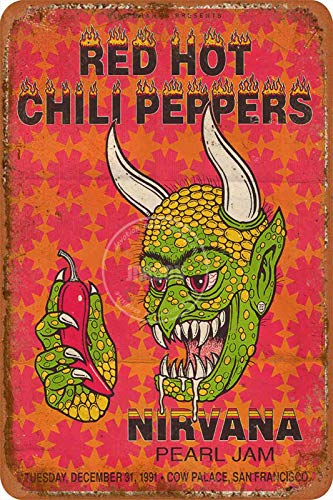 RED HOT CHILI PEPPERS Tin/Metal Style Street Poster Sign Garage Club B