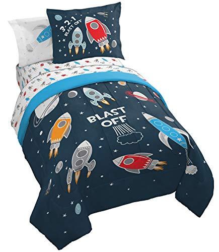 Jay Franco Trend Collector Blast Off 5 Piece Twin Bed Set - Includes Comforter & Sheet Set - Super Soft Fade Resistant Microfiber Bedding