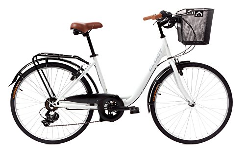 CLOOT Bicis de Paseo Relax Blanca-Bicicleta Paseo con Cambio Shimano 6V