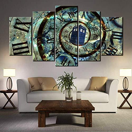 5 Panel Wohnkultur Gemälde Auf Leinwand Der Doctor Who Rahmen Modular Bilder Jahrgang Poster und Wandbilder,B,30×50×2+30×70×2+30×80×1