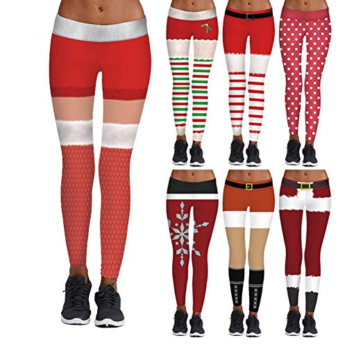 KeKeandYaoYao Kerstmis ambacht Ornamenten Gift DIY Supplies, Vrouwen Bloemen Print Patchwork Yoga Sport Leggings Cropped Broek Xmas Kostuum - M/L BBW012
