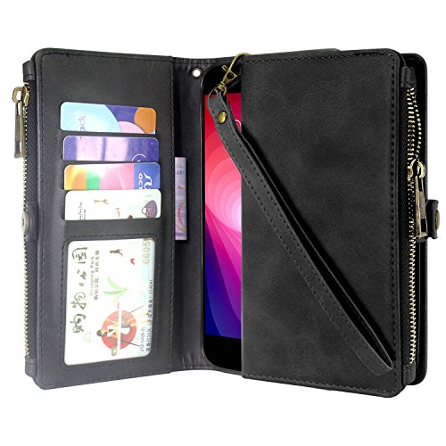 Linkertech LG X Power 2 Case, LG Fiesta 2 /LG X Charge Case, LG Fiesta LTE Case, Premium Leather Flip Zipper Wallet Case Cover with Card Holder and Wrist Strap for LG K10 Power/LG LV7 (Zipper Black)