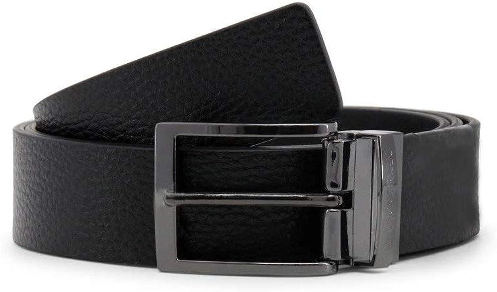 Emporio armani, cintura per uomo reversibile,in vera pelle con fibbia in metallo Y4S195_YLO8J_88001-Black-NOSIZ