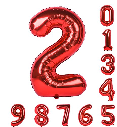 40 Inch Red Number Balloons Birthday Party Balloon 0-9(Zero-Nine) Mylar Decorations of Number 2