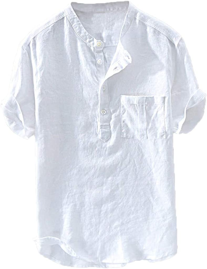 Holzkary Men's Fashion Linen Henry Collar Short Sleeve/Long Sleeve Shirt Tops