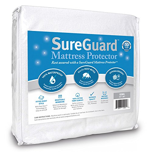 SureGuard King Size Mattress Protector - 100% Waterproof, Hypoallergenic - Premium Fitted Cotton Terry Cover - 10 Year Warranty