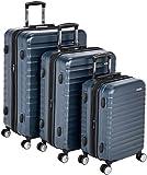 AmazonBasics - Trolley rigido premium, con rotelle pivotanti e lucchetto TSA integrato, Set da 3 pezzi (55 cm, 68 cm, 78 cm), Blu marino