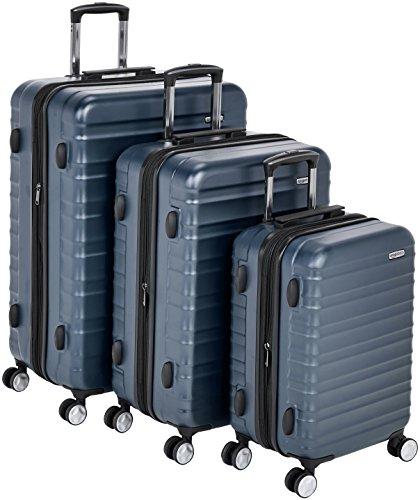 AmazonBasics - Hochwertiger Hartschalen-Trolley mit eingebautem TSA-Schloss und Laufrollen, 3-teiliges Set (55 cm, 68 cm, 78 cm), Marineblau