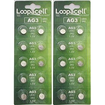 Hillflower 10 pcs AG3 LR41 SR736 G3 392A 384 Card 0/% Mercury 0/% Hg 1.5V Alkaline Light Prime Battery