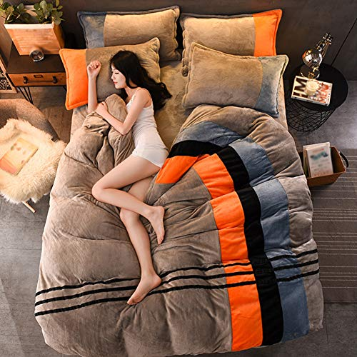 FLHLH Four-Piece Warmth in Winter, Warm Four-Piece Quilt Cover Stitching Colors Soft and Comfortable Creating A Warm Family,220X240cm