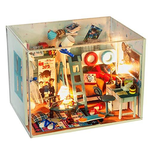 AHWZ Casa de muñecas DIY, 3D Puzzle Madera Mini Kit de Cabina montado a Mano Modelo Detective Conan