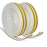 JEMESI Window Draught Excluder Tape D Type Self-Adhesive Waterproof Excluder Strip Foam Seal Soundproofing Avoidance Rubber Weatherstrip 9mm(W) x 6mm(T) X 5 Meters, 4 Seals Total 20M(White)