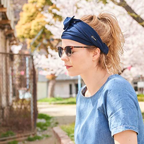 CHARM Yoga Ninja Head Band Wrap - Boho Bandana with Tassles for Men and Women Khaki
