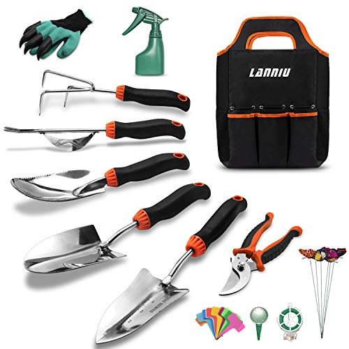 LANNIU Garden Tool Set, 27 Piece Stainless Steel Heavy Duty Gardening Tool Set, Gardening Tools for Women/Grandparents/Parents