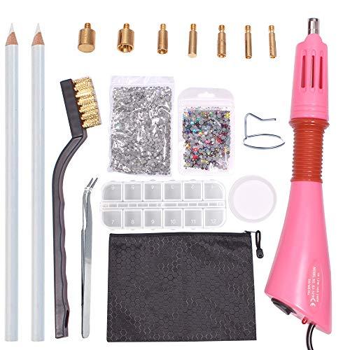 Aplicador de pedrería Hotfix – Kit de herramientas con 7 puntas de diferentes tamaños, pinzas y kit de limpieza de cepillo y 2 bolsas de cristales Hot-Fix rosa