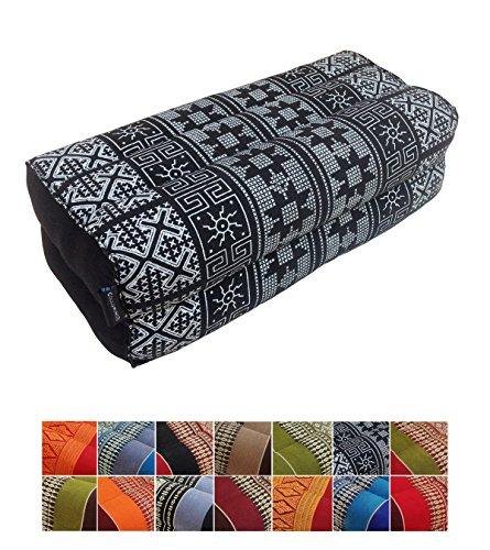 Kapok traditionnel thaï, coussin de soutien pour yoga et méditation de 35 x 15 cm, Black Batik