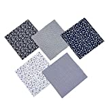 Wukai a Pack of 5 Pieces 20 x 20 inches (50 cm x 50 cm) Cotton Cloth Square Floral Fabric Sewn with Floral pre-Cut Fabric Square Cloth, Used for Craft Patchwork (Blue)
