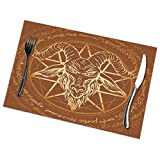 KAIYANJIXIE Demon Baphomet Satanic Goat Head Skull with Horn Placemats Set of 6, Non-Slip Heat-Resistant Washable Table Place Mats for Kitchen Dining 12 X 18 Inch