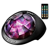 SOAIY Night Light Projector, Mood Lights & Soothing Sleep Sound Machine with Remote, Bluetooth Speaker, Timer for Adults, Kids, Black