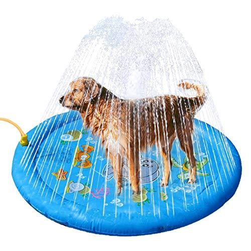 Lilangda Splash Sprinkler Pad voor honden kinderen, antislip hond bad zwembad badkuip, water spelen mat waden zwembad voor huisdieren en peuters, huisdier zomer outdoor water mat speelgoed fontein spelen mat (96CM)