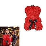 XIANNVV Forever Rose Teddy Bear-Oso de flores de 9.8 pulgadas, regalos de rosas de flores artificiales para regalos para mujeres, día de San Valentín, día de la madre, cumpleaños, aniversario