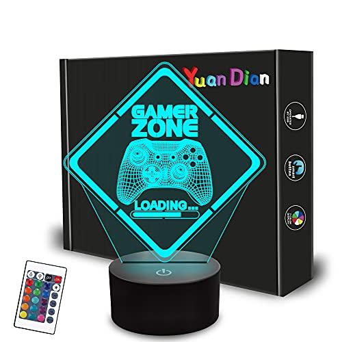 Gamer Zone Night Light,Gamepad Gamepad Graphic Video Games Gamer Gift Funny 3D Illusion Lamp 16...