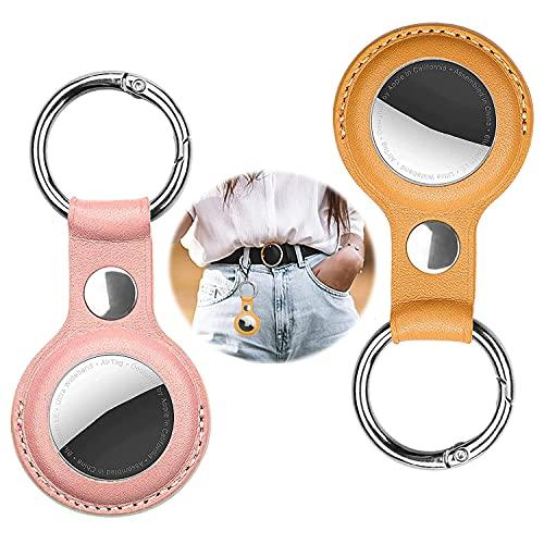 [2 Stücke] Apple airtags schlüsselanhänger,airtags hülle,air Tag anhänger,airtag schlüsselanhänger,Es kann den Apple airtags Kratzer verhindern und sicherer Sein(Rosa+Gelb)