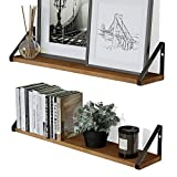 Wallniture Ponza Floating Shelves for Wall, 24 Inch Rustic Wood Wall Shelves for Living Room Decor, Walnut Set of 2