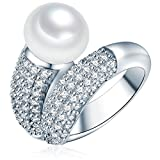 Valero Pearls Anello da Donna in Argento Sterling 925 con rodio con Perle coltivate d'acqua dolce bianco e Zircone bianco Taglia 20 60201416